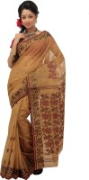 Mrsaree Self Design Tant Handloom Cotton Saree(Gold)