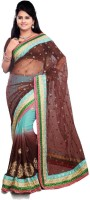 Nairiti Fashions Embroidered Bollywood Net, Georgette Saree(Brown)