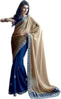 Valeska Printed Fashion Poly Georgette Saree(Blue, Beige)