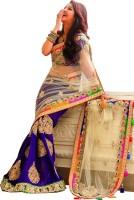 Welcome Fashion Self Design Bollywood Handloom Net Saree(Blue, White)