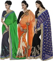 Indian Women By Bahubali Embellished Fashion Jacquard Saree(Pack of 3, Multicolor)