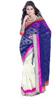 Bhavi Floral Print Fashion Chiffon, Georgette Saree(Blue, White)