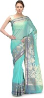 Bunkar Self Design Banarasi Cotton Saree(Green, Multicolor)