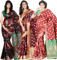 Its Banii Woven Banarasi Handloom Banarasi Silk Saree(Pack of 3, Black, Maroon, Red)