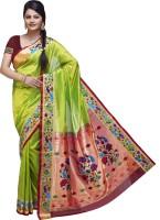 Ishin Printed Fashion Poly Silk Saree(Green)