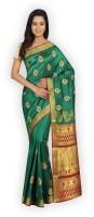 Pavechas Self Design Kanjivaram Art Silk Saree(Green)