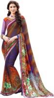 Vastrani Embroidered Fashion Georgette Saree(Purple, Orange)