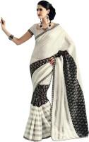 Bhavi Printed Fashion Art Silk Saree(White, Black)