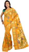 Bunkar Printed Banarasi Organza Saree(Gold, Purple)