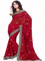 Sourbh Sarees Self Design Fashion Synthetic Georgette Saree(Red)