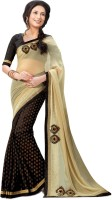 Indianbeauty Solid, Self Design Bollywood Pure Chiffon Saree(Beige, Black)