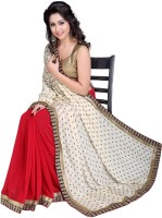 Jiya Self Design, Embroidered Fashion Poly Georgette, Poly Crepe Saree(Red, White)
