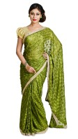 Ethnic Bliss Lifestyles Self Design Phulkari Chiffon Saree(Green)