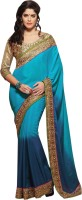 Khushali Self Design, Embellished, Embroidered Fashion Satin, Chiffon Saree(Blue, Light Blue, Beige)