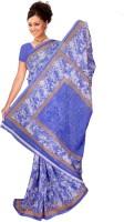 Khoobee Self Design, Printed Fashion Poly Georgette Saree(Light Blue)