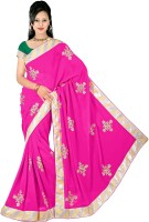Dancing Girl Solid Bollywood Georgette Saree(Pink)