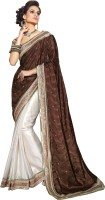 Khoobee Self Design Fashion Jacquard, Satin Saree(White, Brown)