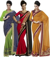 Indian Women By Bahubali Embellished Fashion Georgette Saree(Pack of 3, Multicolor)