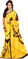 Lookslady Graphic Print Fashion Georgette Saree(Yellow)