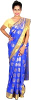 Thara Sarees Self Design Kanjivaram Art Silk Saree(Blue)