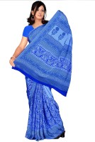 Khoobee Printed Fashion Poly Crepe Saree(Blue)
