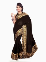 Dancing Girl Embroidered Bollywood Georgette Saree(Black)