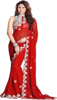 Sourbh Sarees Embroidered Fashion Georgette Saree(Red)