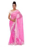 Shri Narayan Fashions Embellished Fashion Georgette Saree(Pink)
