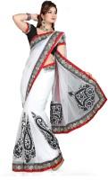 De Marca Printed Fashion Net Saree(White, Black)