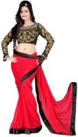 Dancing Girl Embroidered Bollywood Chiffon Saree(Red)