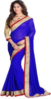 Mirchi Fashion Self Design Fashion Georgette Saree(Blue)