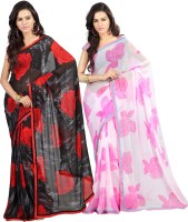 Lookslady Printed Fashion Georgette Saree(Pack of 2, Red)