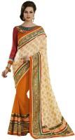 Desi Butik Self Design Fashion Jacquard Saree(Orange)