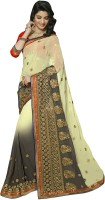 Jiya Self Design, Embroidered Fashion Chiffon Saree(White, Grey, Yellow)