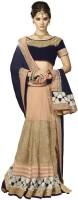 Desi Butik Embellished Fashion Satin, Net Saree(Purple, Beige)