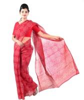 Fab Rajasthan Printed Bandhej Handloom Kota Cotton Saree(Maroon)