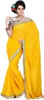 Cenizas Solid Fashion Chiffon Saree(Yellow)