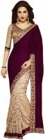 Vandv Shop Embroidered Bollywood Handloom Cotton Blend Saree(Purple)