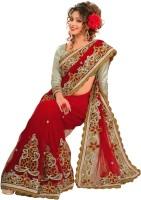 Chirag Sarees Self Design Fashion Cotton Blend Saree(Red)