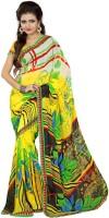 Patankar Fab Printed Bollywood Synthetic Chiffon Saree(Yellow, Black)