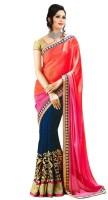 Krishna Fab Self Design Fashion Handloom Chiffon Saree(Pink, Blue)