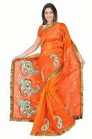 MGS Solid Fashion Net Saree(Green)