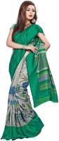 Khoobee Printed Fashion Poly Silk Saree(Green, Grey)