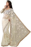 Aksh Fashion Embroidered Bollywood Net Saree(Beige)