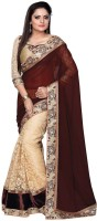 Nairiti Fashions Solid Bollywood Georgette, Net Saree(Brown, Beige)