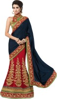 Khushali Self Design, Embroidered Fashion Georgette, Jacquard, Silk Saree(Blue, Red, Beige)