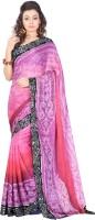 Lookslady Graphic Print Fashion Chiffon Saree(Pink)