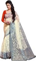 Bhavi Printed Fashion Art Silk Saree(White)