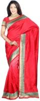 Weavedeal Embellished Banarasi Art Silk Saree(Red)