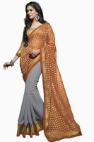 Khoobee Embroidered Fashion Poly Georgette Saree(Grey)